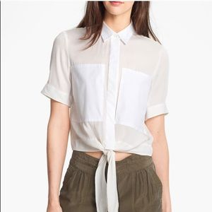 Theory Tops - Theory silk crop ebele tie front top